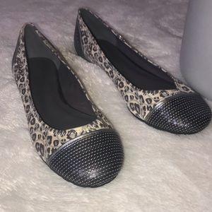"""Coach """"SHINE"""" Gray Leopard and Sequin Flats"""